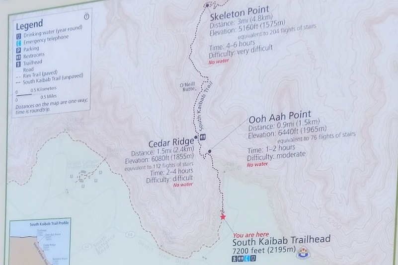 العلامة Grand Canyon National Park Trails Map أفضل الصور