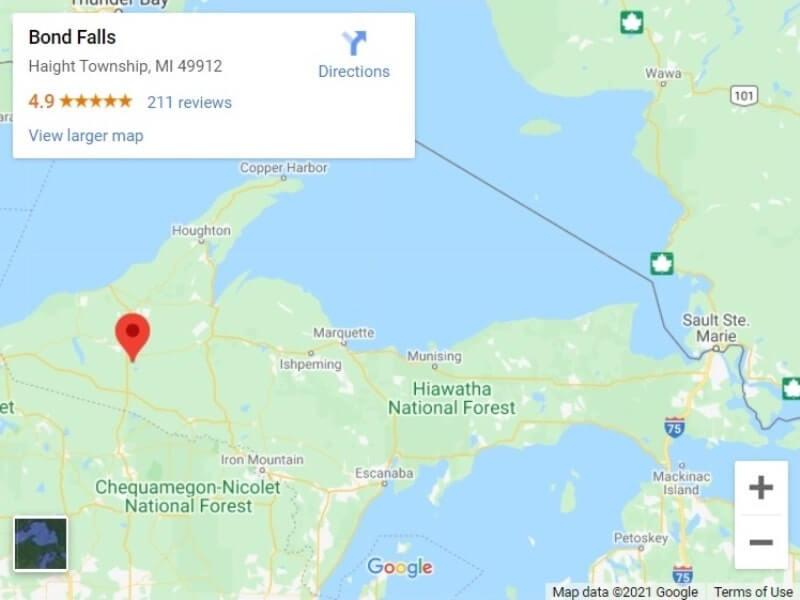 Map of UP Michigan waterfalls in upper peninsula: Bond Falls map. UP michigan travel blog