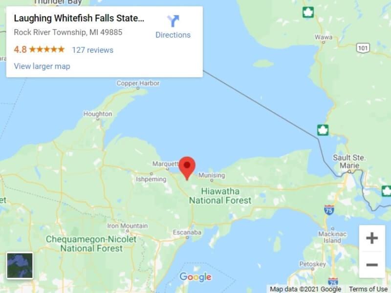 Map of UP Michigan waterfalls in upper peninsula: Laughing Whitefish Falls map. UP michigan travel blog