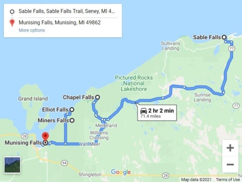 Map of UP Michigan waterfalls in upper peninsula: Pictured Rocks national lakeshore map. UP michigan travel blog