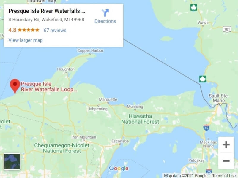 Map of UP Michigan waterfalls in upper peninsula: Porcupine Mountains waterfalls map. UP michigan travel blog