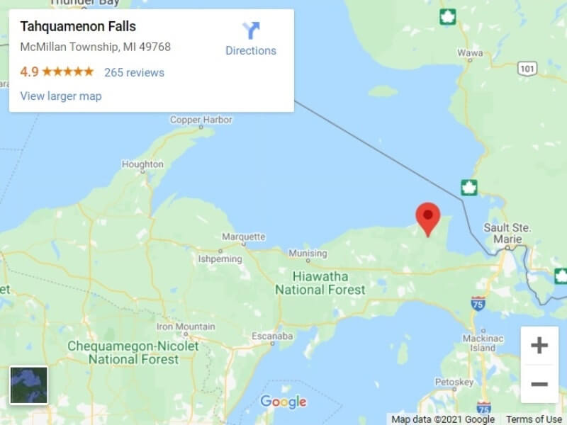 Map of UP Michigan waterfalls in upper peninsula: Tahquamenon Falls State Park map. UP michigan travel blog