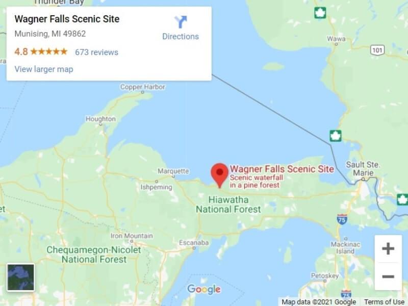 Map of UP Michigan waterfalls in upper peninsula: Wagner Falls map. UP michigan travel blog
