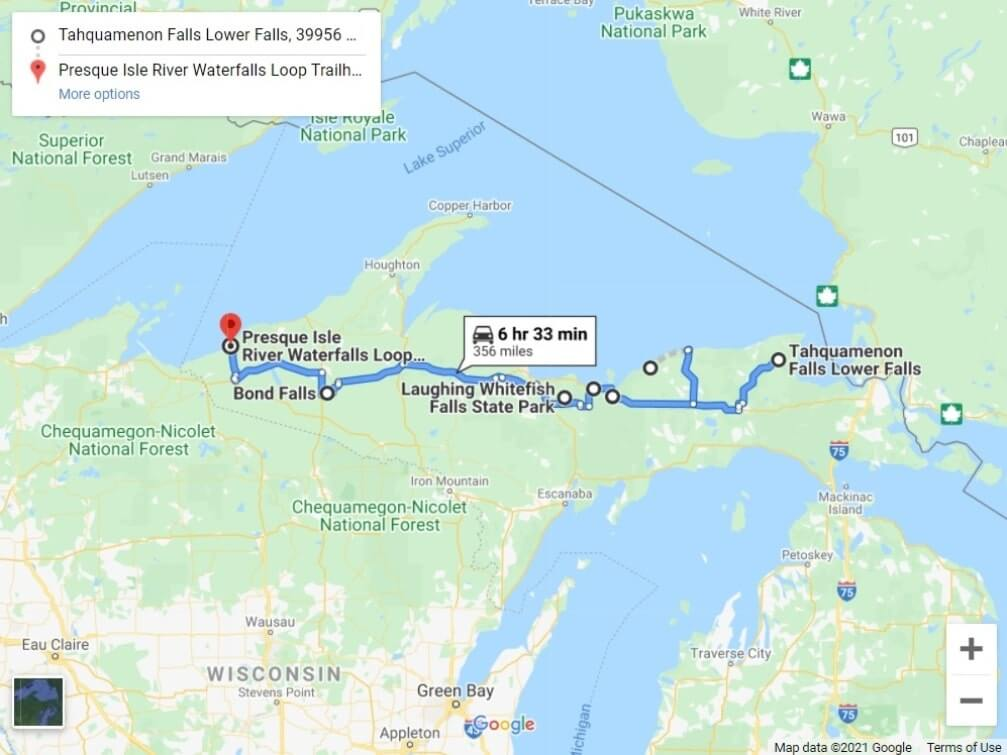 Map of UP Michigan waterfalls in upper peninsula. Michigan waterfalls road trip route. UP michigan travel blog