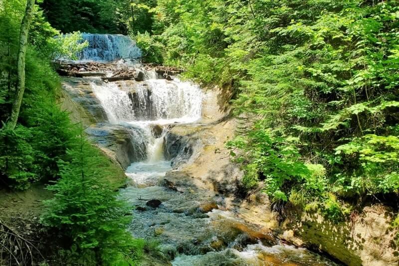 Best Michigan waterfalls: Sable Falls. Best UP waterfalls upper peninsula. up michigan travel blog