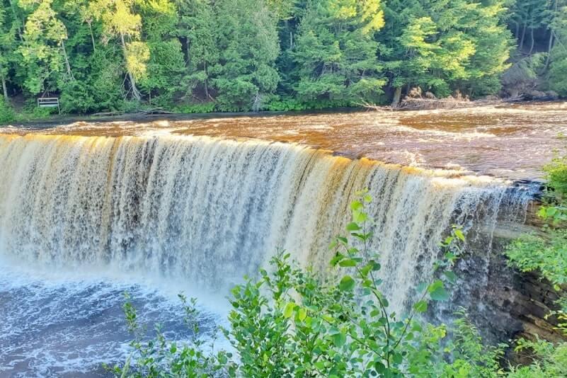 Best Michigan waterfalls: Tahquamenon Falls, Upper Falls. Best UP waterfalls upper peninsula. up michigan travel blog